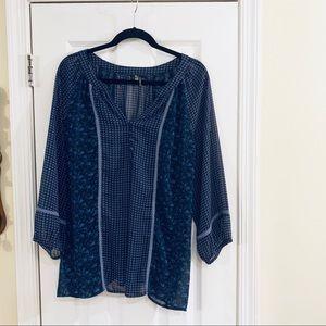 Milano Blue Long sleeve  Sheer Blouse